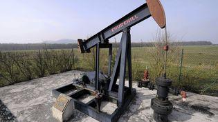 Un chevaleret de pompage pour l'extraction de pétrole, le 5 avril 2013 à Forcelles (Meurthe-et-Moselle). Un permis d'exploration a été prolongé sur la commune en 2018. (MAXPPP)