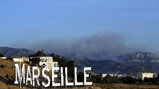L'incendie au dessus du massif des calanques près de Marseille, lundi 5 septembre. (BORIS HORVAT / AFP)