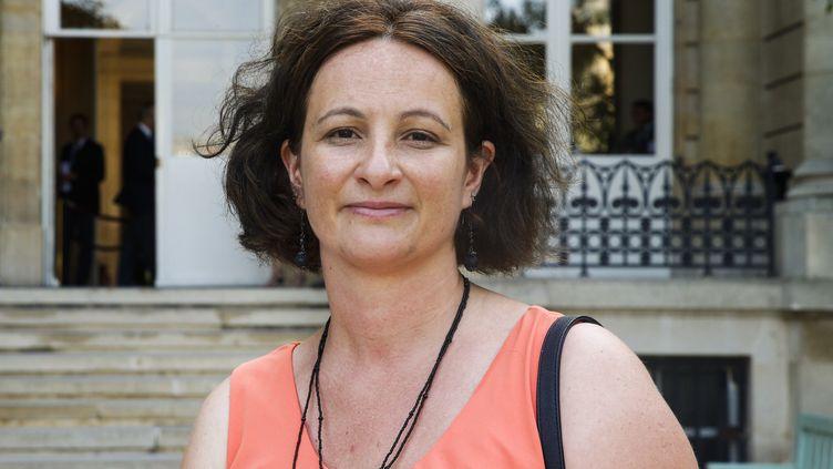 La députée du Nord Jennifer de Temmerman, lors de son arrivée à l'Assemblée nationale le 22 juin 2017 à Paris, à l'issue du second tour des élections législatives. (GEOFFROY VAN DER HASSELT / AFP)