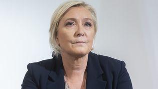 La candidate du Rassemblement national, Marine Le Pen, lors d'une conférence de presse, le 28 septembre 2021 à Paris. (MAXPPP)