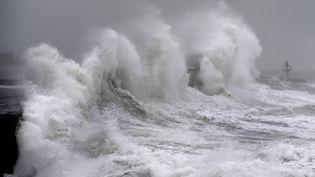 La tempête Clara frappe Plobannalec-Lesconil (Finistère), le 9 février 2020. (FRED TANNEAU / AFP)