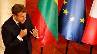 Emmanuel Macron à Vilnius en Lituanie, le 29 septembre 2020.  (LUDOVIC MARIN / AFP)