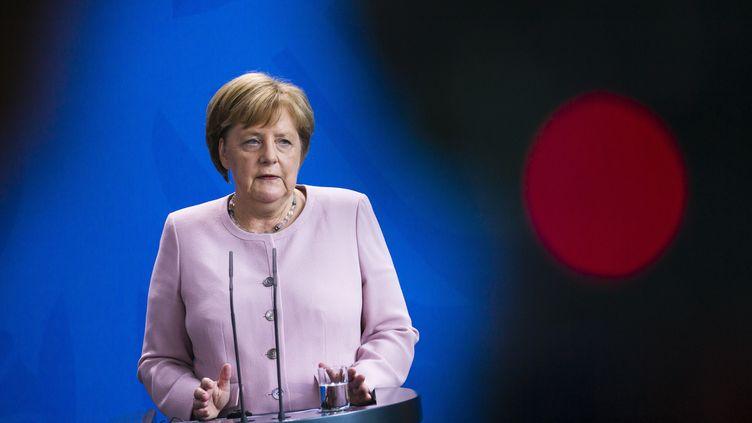 La chancelière allemande Angela Merkel, lors d'une conférence de presse avec leprésident ukrainien Volodymyr Zelensky, le 18 juin 2019 à la chancellerie, à Berlin (Allemagne). (EMMANUELE CONTINI / NURPHOTO / AFP)