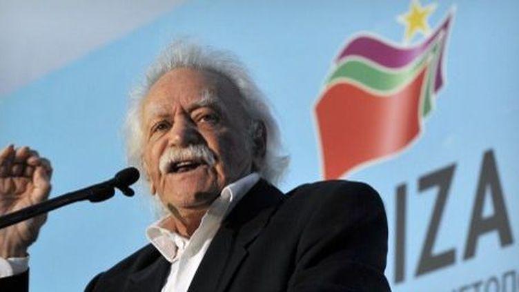 Manolis Glezos syriza, 91 ans, élu au Parlement européen sur la liste Syriza. (LOUISA GOULIAMAKI / AFP)