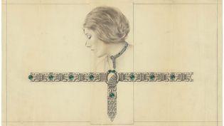 Exposition Le bijou dessiné : dessin d'un collier et de son porté, Vers 1920, Archives Van Cleef & Arpels (Van Cleef & Arpels SA)