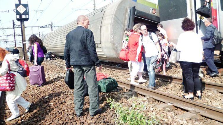 L'accident de Brétigny-sur-Orge (Essonne) a fait 7 morts, le 13 juillet 2013. (A. J. CASSAIGNE / AFP)