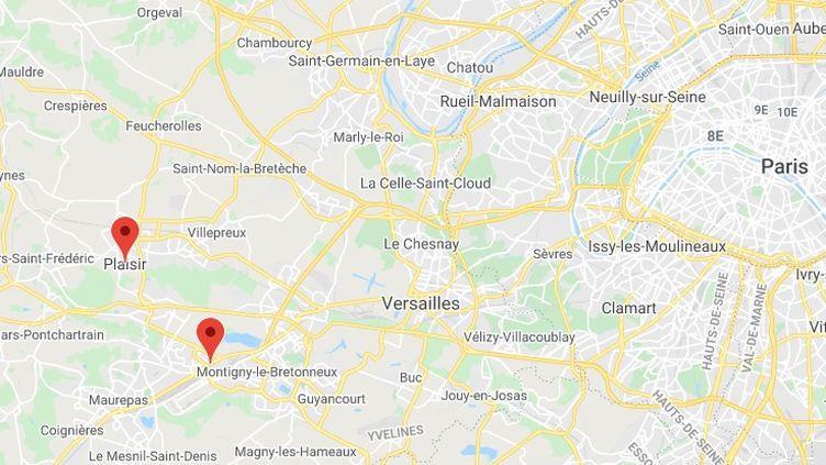 Trappes et Plaisir dans les Yvelines. (GOOGLE MAPS)