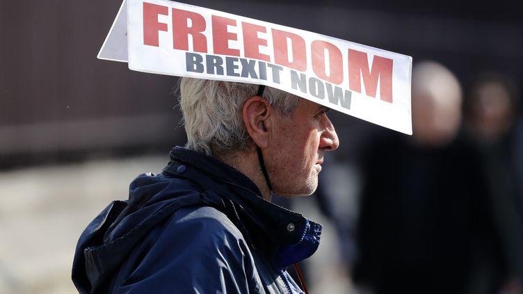 Un partisan du Brexit, devant Westminster, à Londres, le 28 mars 2019. (TOLGA AKMEN / AFP)