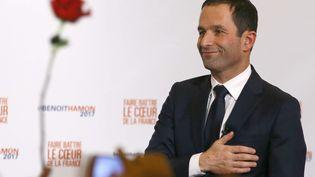 Benoît Hamon, le 29 janvier 2017 à Paris, après sa victoire lors du second tour de la primaire de la gauche. (FRANCOIS MORI / AP / SIPA)