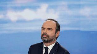 """Edouard Philippe, sur plateau du """"20 heures"""" de France 2, à Paris, le 18 novembre 2018. (GEOFFROY VAN DER HASSELT / AFP)"""