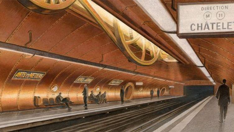 Le décor de la station Arts et Métiers imaginé par François Schuiten en 1993 (détail). Estimation : 25.000 à 35.000 euros chez Artcurial len 2013.  (François Schuiten)