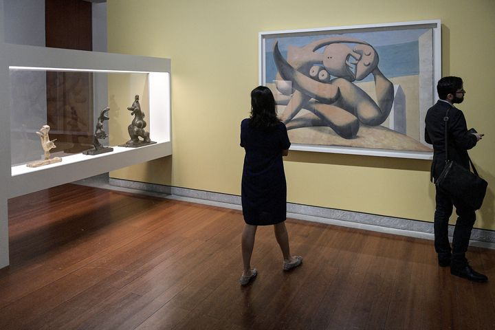 """Exposition """"Picasso:Baigneuses et baigneurs"""" au musée des Beaux-Arts de Lyon, le 23 juin 2020. (MAXIME JEGAT / MAXPPP)"""