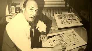 Will Eisner à sa table de travail, l'une des photos à découvrir au Musée de la BD d'Angoulême.  (France 3 / Culturebox)