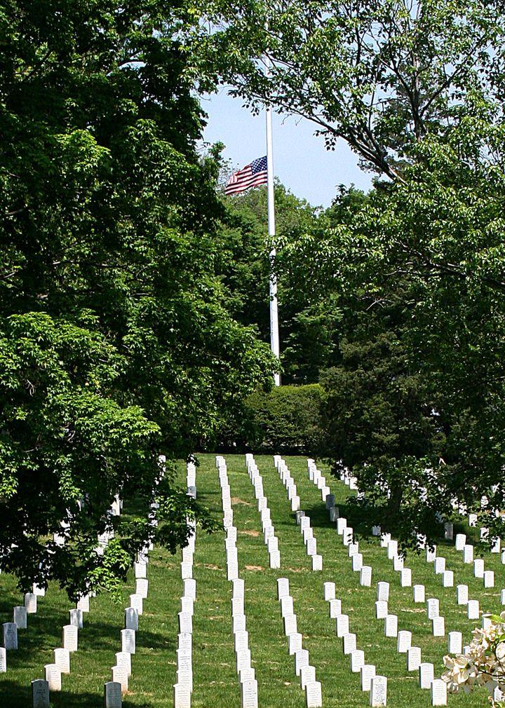 Les terres du général Lee, à Arlington (Virginie), ont été confisquées en 1861 par le gouvernement fédéral du président Abraham Lincoln. C'est aujourd'hui un cimetière national où reposent des anciens combattants américains et le président John Fitzgerald Kennedy. (KAREN BLEIER / AFP)