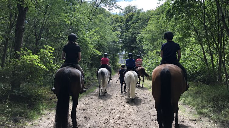La randonnée est organisée par la société Horse Holidays France basée àMaisons-Laffitte.  (SANDRINE ETOA-ANDEGUE / RADIO FRANCE)