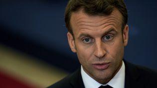 Emmanuel Macron, le 29 mai 2019, à Bruxelles. (KENZO TRIBOUILLARD / AFP)