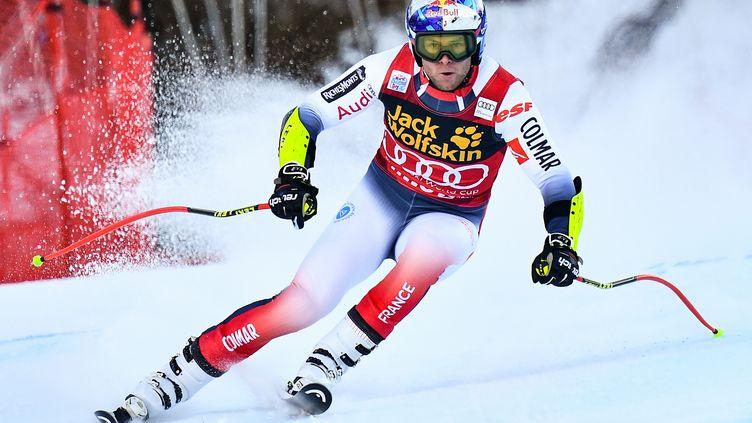 Le Français Alexis Pinturault lors de l'épreuvede la Coupe du monde de ski alpin à Bormio (Italie), le 29 décembre 2019. (MARCO BERTORELLO / AFP)