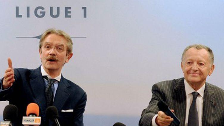 Frédéric Thiriez et Jean-Michel Aulas,   (FRANCK FIFE / AFP)