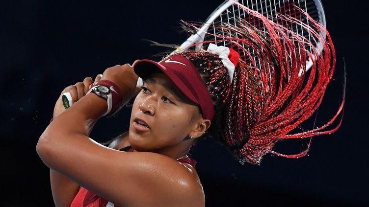 La joueuse de tennis Naomi Osaka a eu du mal à terminer sa conférence de presse lundi 16 août, à Cincinnati. (TIZIANA FABI / AFP)