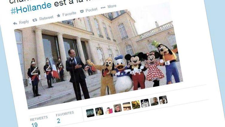 Un photomontage – assez évident – de François Hollande ayant circulé sur Twitter lors du dernier remaniement ministériel, le 25 août 2014. (AIGLEMALIN / TWITTER)