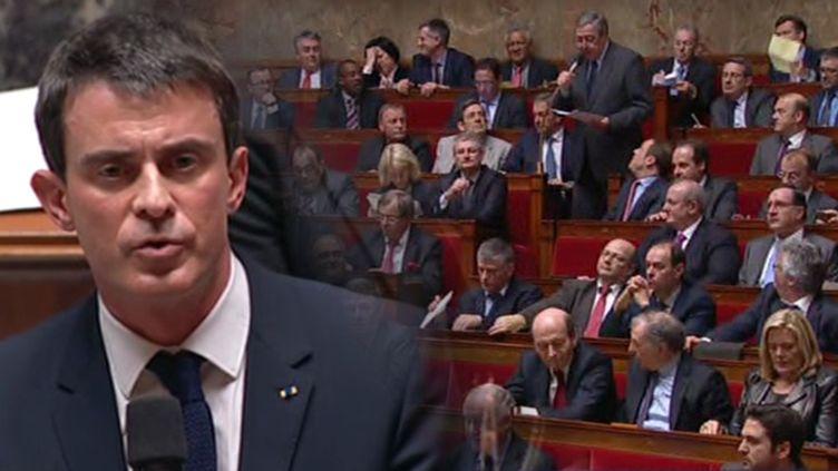 (Manuel Valls va avoir recours à l'article 49-3 pour faire adopter le texte de la loi Macron sans vote © LCP/RF)