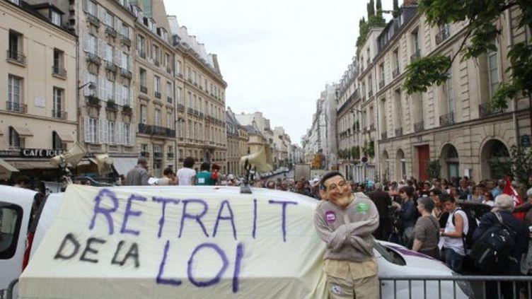 Manifestation contre le projet de loi de réforme de l'hospitalisation d'office, le 10 mai 2011 devant le Sénat à Paris. (AFP/PIERRE VERDY)