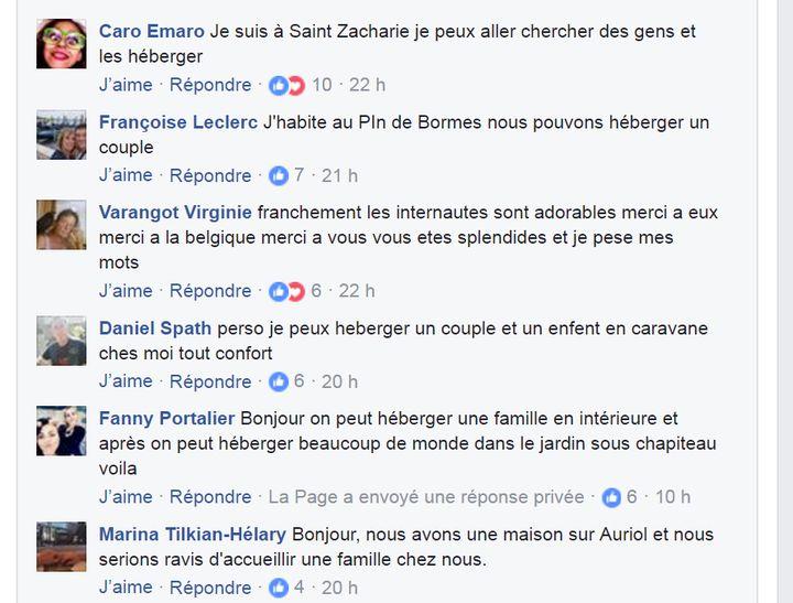 Sur Facebook, les internautes proposent leur aide aux sinistrés des incendies dans le Sud-Est, en juillet 2017. (CAPTURE D'ÉCRAN / FACEBOOK FRANCE BLEU PROVENCE)