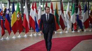 Arrivée du président français Emmanuel Macron au sommet européen de Bruxelles du 22 juin 2017 (VIRGINIE NGUYEN HOANG / HANS LUCAS)