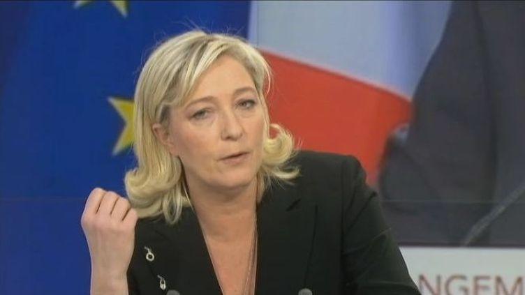 La candidate du FN à la présidentielle Marine Le Pen le 26 janvier 2012 sur France 2. (FTVi / FRANCE 2)