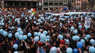 Un rassemblement des Sardines, mouvement antifasciste, le 19 janvier 2020 à Bologne. (ANDREAS SOLARO / AFP)