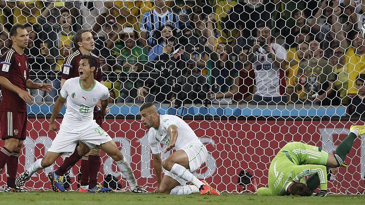 Islam Slimani (au centre, à genou) vient d'égaliser. Son coéquipier Aissa Mand exulte : l'Algérie est qualifiée (ADRIAN DENNIS / AFP)