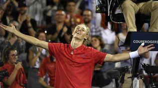 Denis Shapovalov, tennisman canadien de 18 ans, après sa victoire contre Rafael Nadal, le 20 août 2017, à Montréal (Québec, Canada). (USA TODAY SPORTS / AFP)