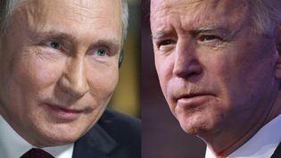 Le président russe, Vladimir Poutine (à gauche), et son homologue américain, Joe Biden. (ANGELA WEISS / AFP)
