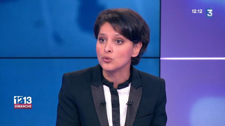 """Najat Vallaud-Belkacem, ministre de l'Education, sur le plateau du """"12-13 Dimanche"""", sur France 3, le 3 mai 2015. ( FRANCE 3)"""