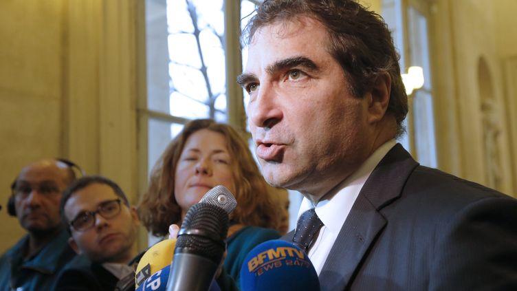 Christian Jacob, chef des députés UMP, lors d'une conférence de presse, à l'Assemblée nationale, à Paris, le 15 janvier 2013. (PIERRE VERDY / AFP)