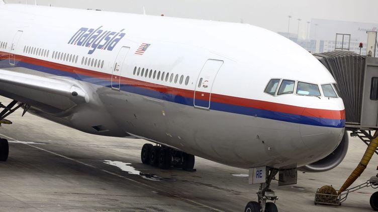 Un Boeing de la compagnie Malaysia Airlines sur le tarmac de l'aéroport de Pékin (Chine), le 10 mars 2014. (MAXPPP)