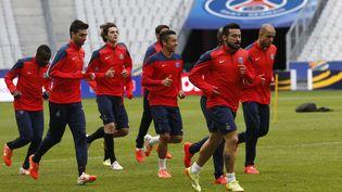 Les joueurs du PSG à l'entrainement, le 18 avril 2014, au Stade de France (Seine-Saint-Denis). (THOMAS SAMSON / AFP)