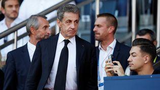L'ancien président de la République Nicolas Sarkozy, lors d'un match de football au Parc des Princes, à Paris, le 14 septembre 2019. (GONZALO FUENTES / REUTERS)
