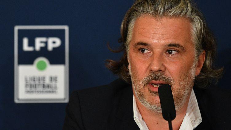 Vincent Labrune lors d'une conférence de presse de la LFP (Ligue de Football Professionnel) le 10 septembre 2021. (FRANCK FIFE / AFP)