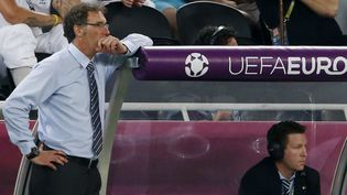 Laurent Blanc, perplexe sur le banc de l'équipe de France lors de sa défaite 2-0 contre l'Espagne, à Donetsk (Ukraine) en quarts de finale de l'Euro, le 23 juin 2012. (ALESSANDRO BIANCHI / REUTERS)