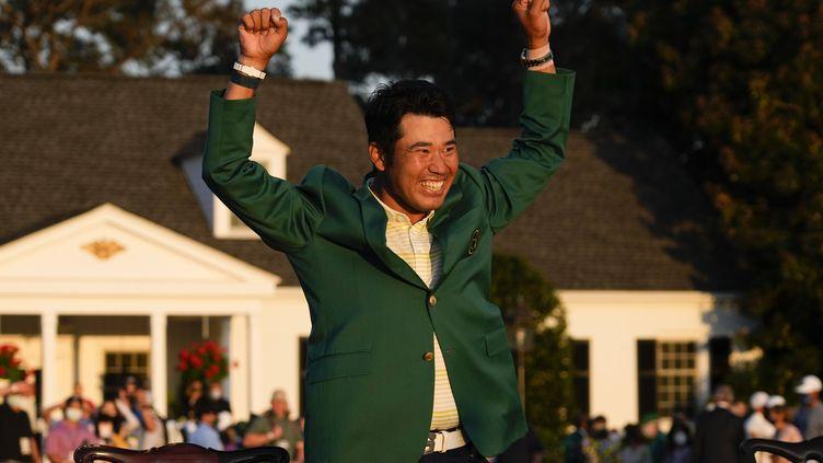 Le Japonais Hideki Matsuyama a remporté le Masters d'Augusta, dimanche 11 avril 2021, en Géorgie. (DAVID J. PHILLIP/AP/SIPA / SIPA)
