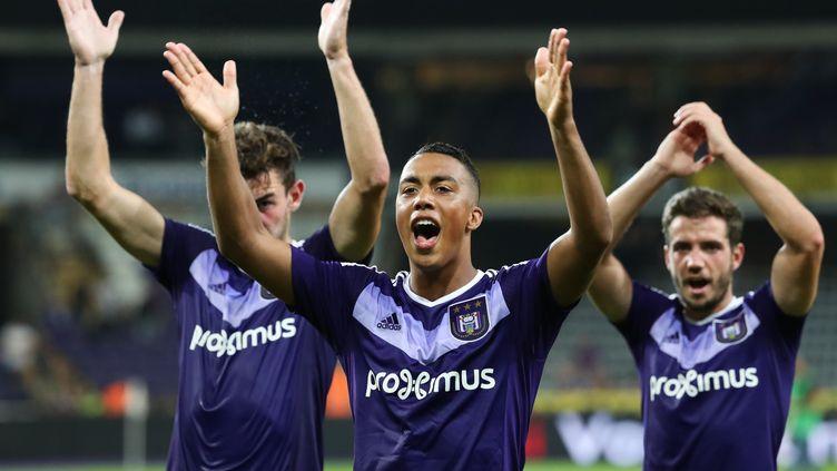 La joie des joueurs d'Anderlecht, qualifiés pour la phase de poules de l'Europa League (VIRGINIE LEFOUR / BELGA MAG)