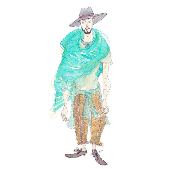 Le créateur Haider Ackermann croqué par Leo Greenfield au Palais de Chaillot  (Leo Greenfield)
