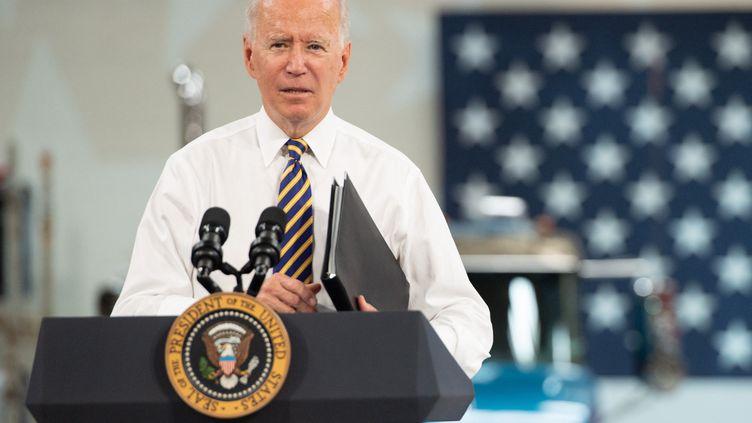 Le président américain Joe Bidenfait un discours à Macungie (Etats-Unis), le 28 juillet 2021. (SAUL LOEB / AFP)
