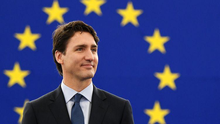 Le Premier ministre canadien, Justin Trudeau, au Parlement européen à Strasbourg (Bas-Rhin), le 16 février 2017. (FREDERICK FLORIN / AFP)