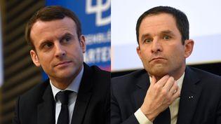 Emmanuel Macron et Benoît Hamon, à Paris le 8 mars 2017 (AFP)