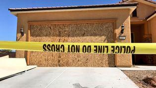 La maison Stephen Paddock, à Mesquite (Nevada) à 145 km de Las Vegas, a été investie par le FBI. (RADIO FRANCE / FRANCEINFO)