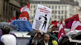 Des manifestants dans un défilé syndical à Lyon (Rhône), le 1er mai 2013. (MAXPPP)