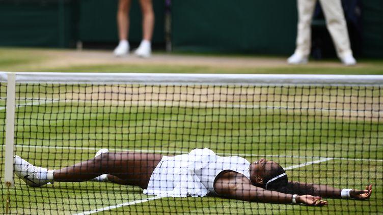Serena Williams exulte après sa victoire à Wimbledon, samedi 9 juillet 2016. (GLYN KIRK / AFP)