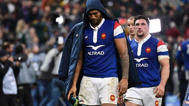 Sebastien Vahaamahina, après la défaite du XV de France devant l'Afrique du Sud, au Stade de France, à Saint-Denis, au nord de Paris, le 10 novembre 2018. (Anne-Christine POUJOULAT / AFP)